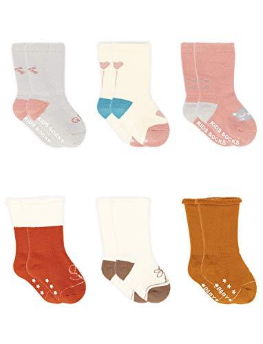 Adorel Baby Meisjes Sokken Antislip Lang met Badstof 6-Pak