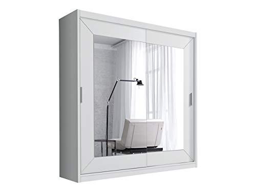 Schwebetürenschrank Alfa Kleiderschrank mit Spiegel, Modernes Schlafzimmerschrank, Schiebetür Schrank, Schlafzimmer (180 cm, Weiß)
