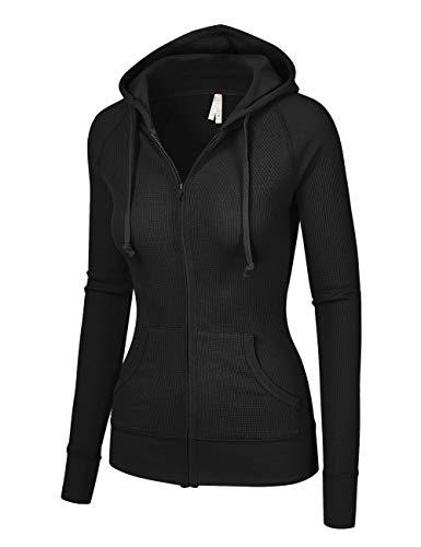 OLLIE ARNES Women's Thermal Long Hoodie Zip Up Jacket Sweater Tops Thermal_Black M