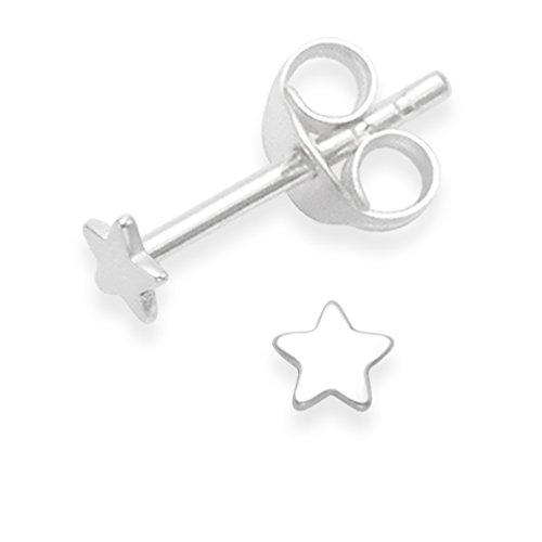 De plata de ley minúscula Juego de pendientes de tuerca plano Estrella - TAMAÑO: minúscula 0.3cm 5148. Caja de regalo