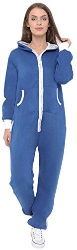 Neue stilvolle Damen-Kapuzenpulli Hood Strampelanzug Körperanzug Jumpsuit Overall Small Blau