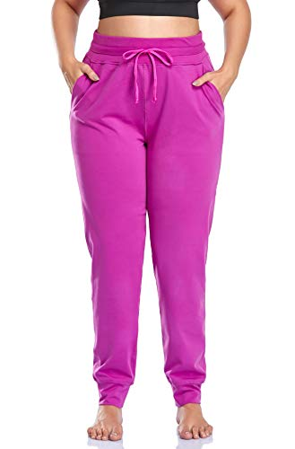 ZERDOCEAN Women's Plus Size High Waisted Yoga Pants Casual Lounge Pants Fitted Running Workout Pocketed Pants with Drawstring Rose 2X