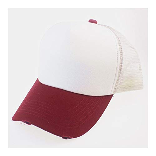QZXQW Unisex Baseball Cap Asjustable Snapback Sport Hip Hop Sun Hats Frayed Edging Hole Mesh Cap Male Female Students Sunshade Baseball Cap Casual Hat 4 Seasons (Color : Red)