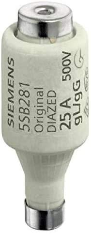 SIEMENS - x25 Stück DIAZED-Sicherungseinsatz 500V 25A