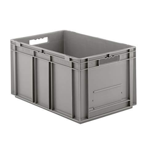 SSI Schäfer EF 6320 Eurokiste Kunststoffbox Transportbox offen ohne Deckel, 600x400 mm, 63,7 l, 20 Kg Tragkraft, Made in Germany, Grau