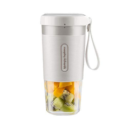 RTYUI fruitbeker, kleine draagbare mixer, elektrische sapcentrifuge, keukenmachine, 300 ml, opladen 40 seconden, Quick, 8,7 x 9,5 x 18,3 cm, wit