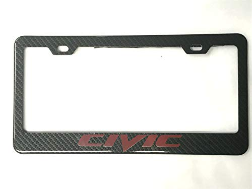 Qptimum Civic Racing Carbon Fiber Stainless-Steel License Plate Frame Cover For Honda Civic (1)