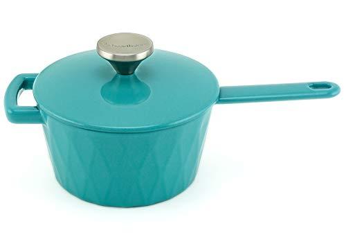 HearthStone Cookware Diamond Casserole en fonte émaillée Turquoise 18 cm 1,6 l Pour toutes les surfaces y compris l'induction et le four