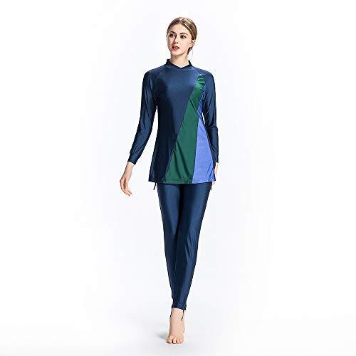 XDXART Dames Bescheiden Moslim Badpak Tops Hoed Lange Broek Lang-Sleeve Badmode Strandkleding Islamitische Kostuum