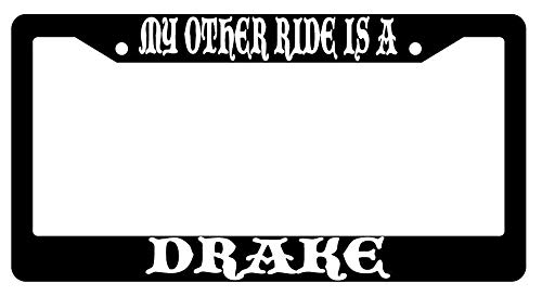 License Plate Frames, My Other Ride Is A Drake Black Metal License Plate Frame Fantasy Applicable to Standard car Unisex-Adult Car Licenses Plate Covers Holders Frames for Plates 15x30cm