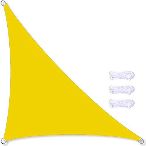 Toldo Vela De Sombra Triangular 5X 5 X 5 M, Toldo De Vela Impermeable para Jardín, Terraza, 95% De Protección UV, para Patio Al Aire Libre, Jardín con Cuerda Libre,21