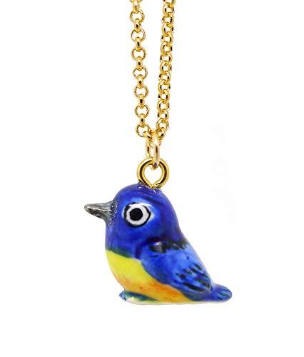 Les Bijoux Acidulés Halsketting met kleine vogels, blauw, van porselein, voor dames of jongeren, meisjes