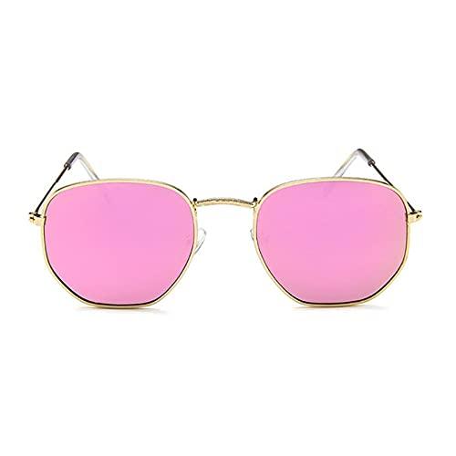 bansd Polígono de Metal, Hombres y Mujeres, Moda, Gafas de Sol Retro Coloridas, Montura Dorada, Gafas de Sol con Personalidad de Moda
