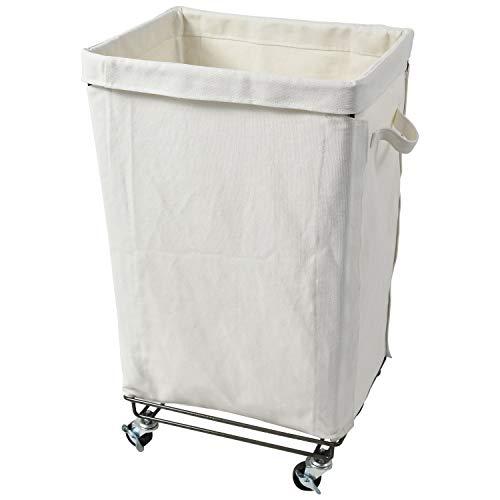 BARABRA ランドリーバスケット ランドリーボックス 大容量 洗濯かご クロスボックス キャスター付き ロングタイプ キャンバス バスケットワゴン スチール フレーム 布 収納 ボックス (ホワイト)