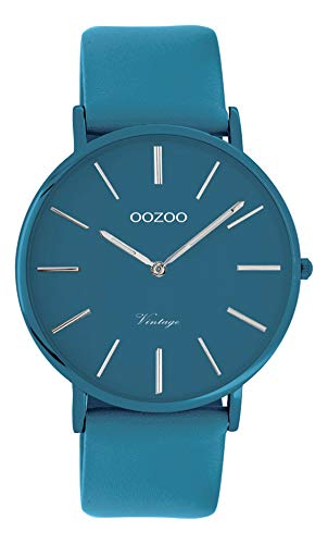 Oozoo Vintage Herrenuhr Colors of The Summer mit Lederband Flach 40 MM Blau C9884
