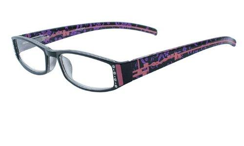 About EyesG157 Tessa - zwart beeld met diamant, roze en paars tempel klaar om te dragen leesbrillen, per stuk verpakt (1 x 1 stuks)