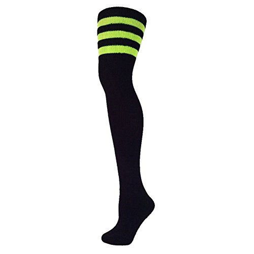 AJs Classic Triple Stripes Retro Thigh High Tube Socks, Sock size 11-13, Shoe Size 5 and up