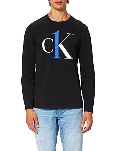 Calvin Klein L/S Crew Neck Camiseta de Pijama, Negro con Royalty, M para Hombre