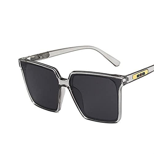 Vintage Cuadrado de Gafas de Sol de Gran tamaño Mujeres Hombres degradados Transparentes Gafas de Sol Grandes Marco Gafas UV400 (Color : 2, Size : F)