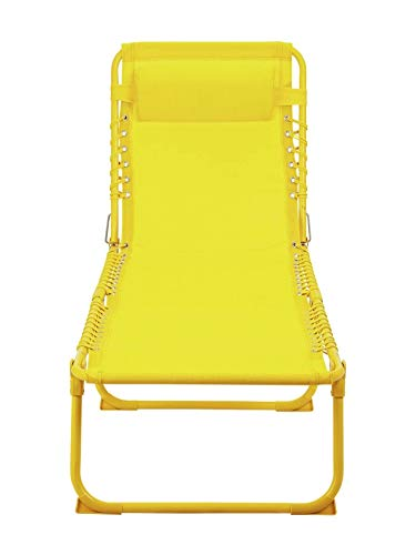 Zero Gravity Metal Sun Bed Lounger - Yellow: Premium Heavy Duty 2020 Model (Reclining Outdoor Garden Deck, Chaise Beach Chair)