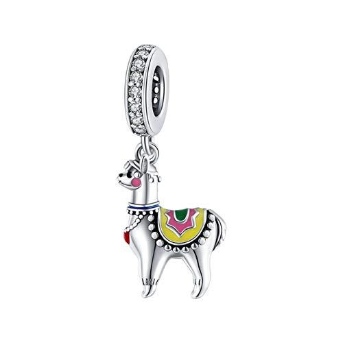 HMMJ Los encantos Colgan Perlas, S925 Sterling Silver Alpaca DIY Colgante Hecho a Mano para Pandora Troll Chamilia Charm Pulsera Collares