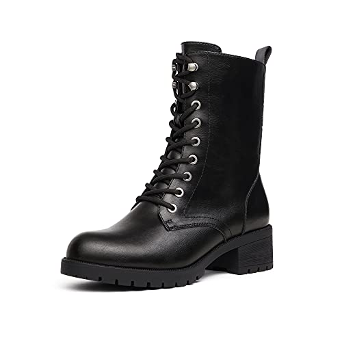 DREAM PAIRS Black DMB214 Lace-up Combat Boots Mid-calf Military Winter Boot for Women Size 9.5