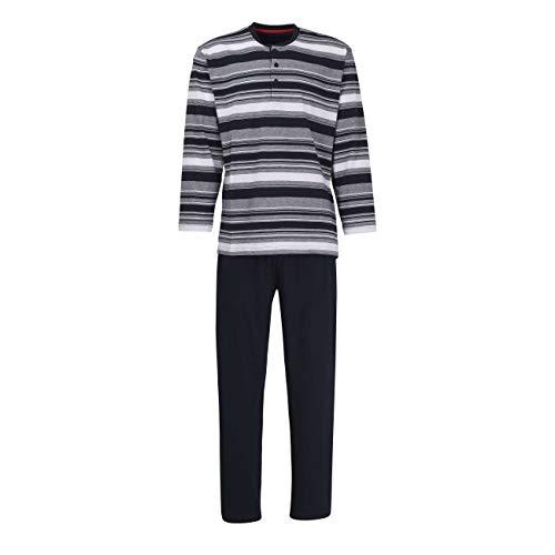Ceceba Herren Pyjama, Schlafanzug, Oberteil und Hose -Langarm, Polyester, Baumwolle, Single Jersey, Navy, gestreift 64