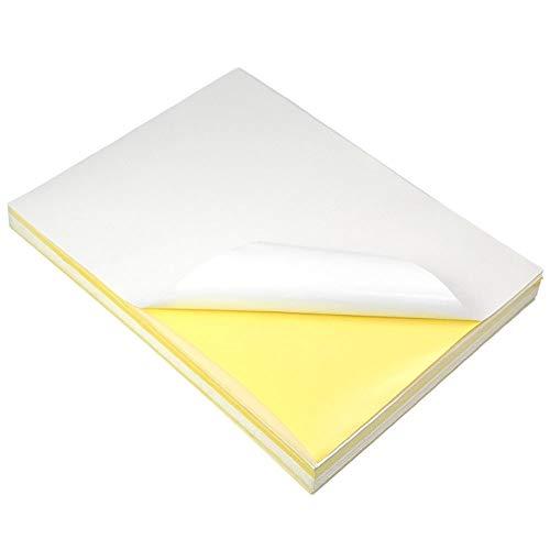 Granvoo Etiquetas adhesivas A4 Sticker Paper 297mm x 210mm con papel brillante + pegamento para impresoras láser, impresoras de inyección de tinta y copiadoras