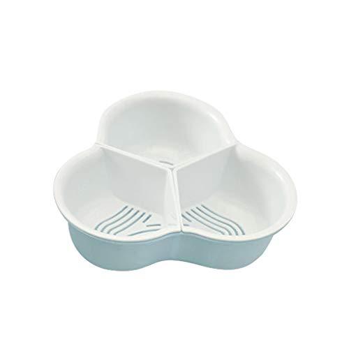 Luccase Colador de cocina, cesta doble de drenaje para cocina, lavabo, verduras y frutas, cesta de almacenamiento para el hogar y la cocina, polipropileno, azul, Small