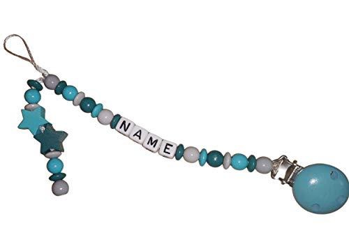 PREMIUM Schnullerkette mit Name und Stern - Geschenk zur Geburt und Taufe - Baby - Schnuller - personalisierte Namenskette - wunderschönes Schnullerband