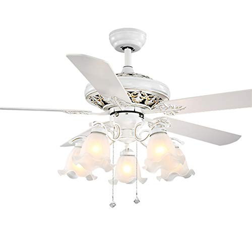 QCSMegy Ventilador de Estilo Europeo Comedor Sala de Estar Ambiente Sencillo silencioso Nordic Blanco Ventilador eléctrico luz hogar con Ventilador araña
