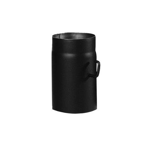 Kamino - Flam – Tubo con válvula para chimenea (Ø 120 mm/longitud 250 mm), Tubo de escape para estufa de leña, Conducto de humos – acero resistente a altas temperaturas – durable, estable – negro