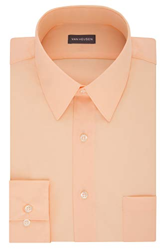 Van Heusen mens Regular Fit Poplin Solid Dress Shirt, Scallop, 15.5 Neck 34 -35 Sleeve Medium US