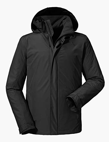 Schöffel Jacket Aalborg2, wasser- und winddichte Outdoorjacke mit verstaubarer Kapuze, atmungsaktive Regenjacke für Männer Herren, black, 52