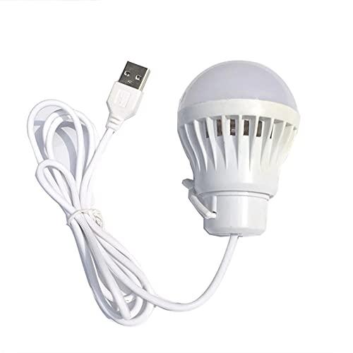 5V LED Ampolletas Led Camping 5W USB Bombilla De Luz Portátil De Camping Lámpara Colgante De Linternas para Senderismo Tienda De Viaje Trabajo con Banco De Energía Portátil,Blanco,5W