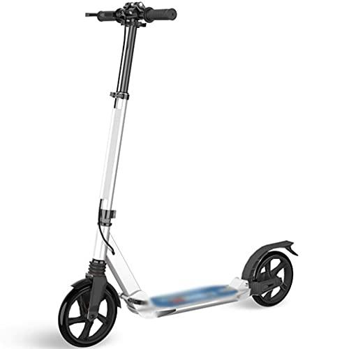 Patinete Stunt Scooter Robustos Scooter De Altura Regulable, Patinete Portátil, Patinetes Deportivos para Adultos, Fácil De Instalar (Color : Blanco, Size : 94 * 37 * 91-106cm)
