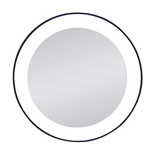 Zadro 15X Magnification Next Generation LED Lighted Suction Cup Mirror, Black, Silver Finish