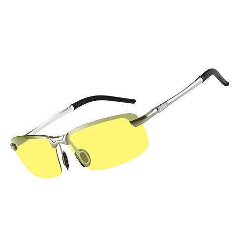 LZXC Herren Nachtsichtbrille, Polarisierte Nachtfahrbrille Autofahren Brille, Silberner Rahmen mit Nachtsichtlinse