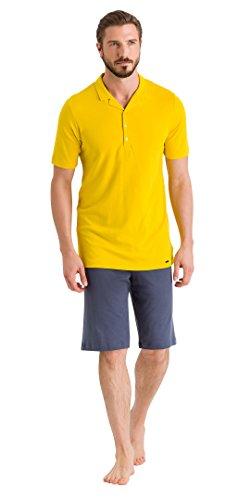 Hanro Herren Floris Short Sleeve Polo Pajama Pyjama Set, Dusty Sun/Lavastein, Medium