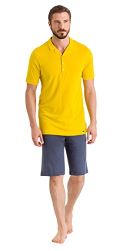 Hanro Herren Floris Short Sleeve Polo Pajama Pyjama Set, Dusty Sun/Lavastein, XX-Large