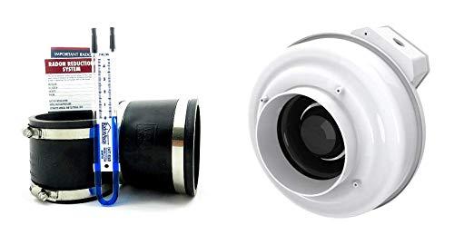 Healthy Air Solutions Fantech Rn2 Radon Fan + Install Kit (Black, 4x4)