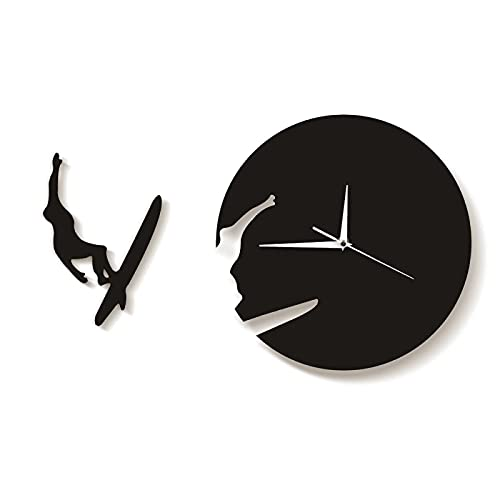 xinxin Reloj de Pared Reloj de Tiempo de Surf Reloj Regalo de Verano para Amantes del Surf Surfistas ávidos Arte de Pared 3D Decoración del hogar Reloj de Sala de Estar Reloj de Pared Moderno