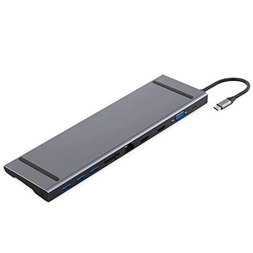 11 en 1 Tipo C Hub Adaptador con 2 4K HDMI,LAN, VGA,3 Puertos USB,100W PD,SD/Micro SD Lector Tarjeta,3.5mm Audio para Otros Ordenadores y Tabletas/Móvil de Tipo C