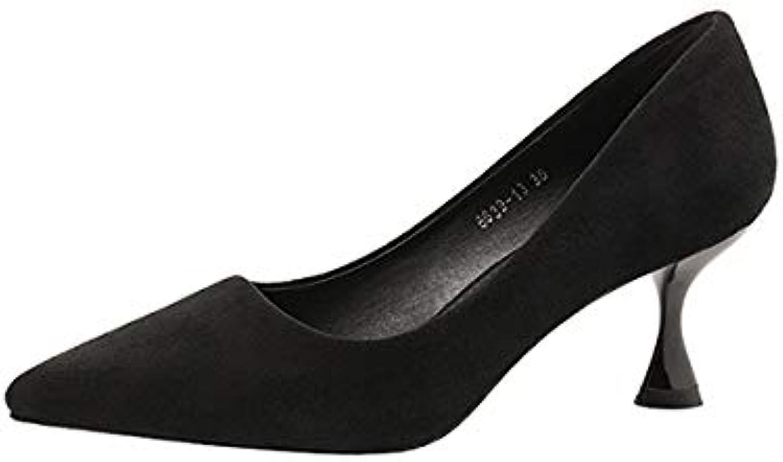 FLYRCX Spitzen Spitzen Spitzen Mode Arbeitsschuhe einzelne Schuhe Damen Wildleder Stiletto Bequeme High Heels B07L7R9NG1  Personalisierungstrend af7788