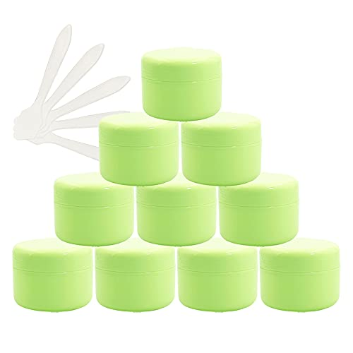 TIANZD 12 Stück Kleine50 mlGrünKunststoff LeereCremedose Dose mit Deckel 50gLeerdoseSchraubdose Plastikdose Blechdosen Kosmetische Behälter Tiegel, 5 Stück Spatel