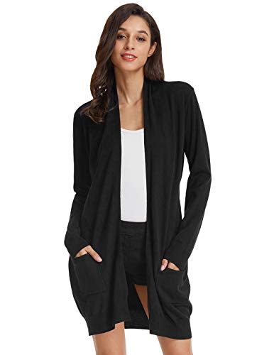 GRACE KARIN Damen Strickmantel Lang Sweater Langarm High Stretchy Casual Offene Strickjacke mit Taschen M Schwarz CLAF1003-2