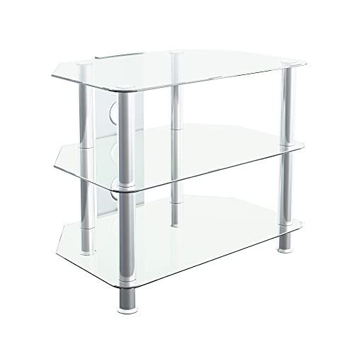 """mahara Glass TV Stand for HD LED LCD 4K 8K QLED TVs up to 32"""" inch by TV Furniture Direct (60cm, Clear Glass, Chrome Leg)"""