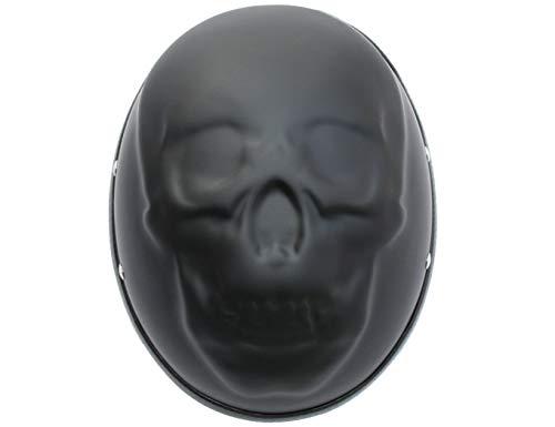 ATO Helme Chopperhelm BC Skull Schädel Motorradhelm 3D Matt Schwarz Größe  L 59cm Bis 60cm
