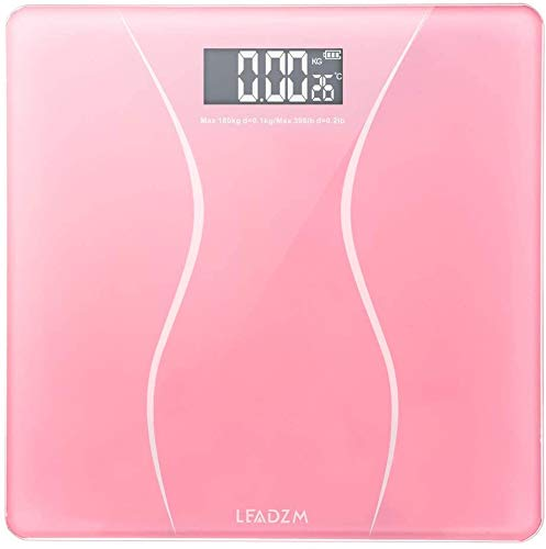 Digital Body Weight Scale, Bathroom Scale with Large Backlit Display, Step-On Technology, 400 Pounds Max, 6mm Ultra Slim Tempered Glass Design, Waist Pattern with 2 x 1.5V AAA Battery(Pink)