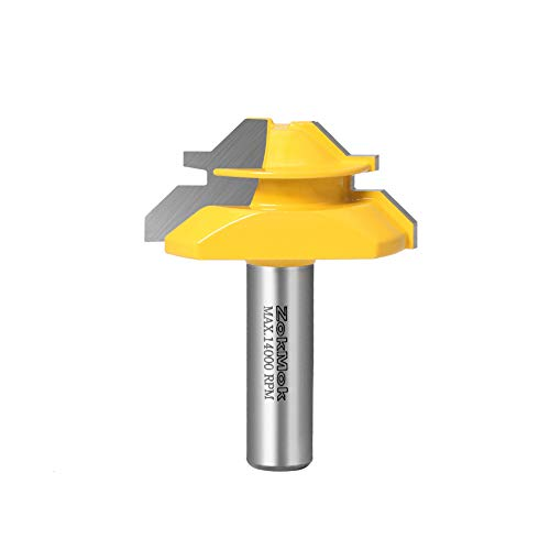 """ZokMok 45 Degree Lock Miter Router Bit, 3/4"""" Cutting Height, suitable for furniture oblique tenon interface making, such as drawers, cabinets and many of home DIY projects. (1/2'' Shank 2'' Width and 3/4'' Stock )"""